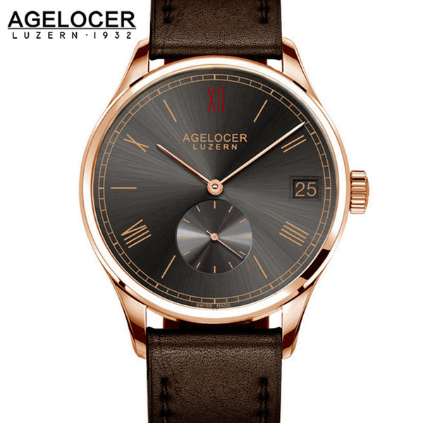 Agelocer Men's Rose Gold Black Dial Leather Strap Watch Date Small Seconds 1104D1