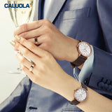 Caluola Men Watch Automatic White Dial Fashion Business Watch 1178
