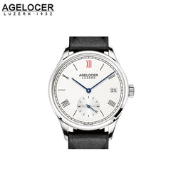 Agelocer Women's Steel White Dial Leather Strap Watch Small Seconds 1201A1