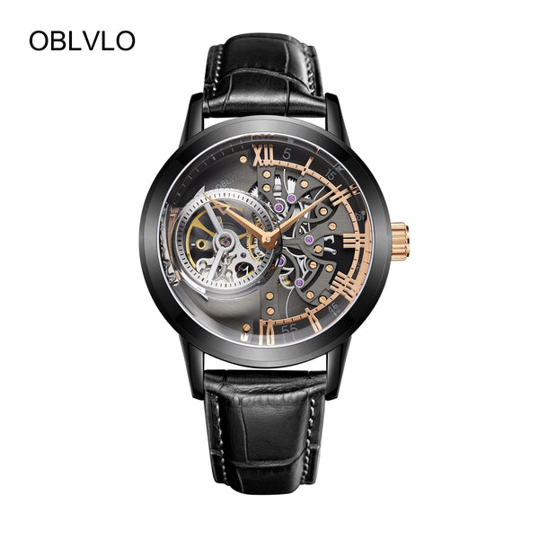 OBLVLO Skeleton Mens Watches Black Steel Tourbillon Watch VM 1-BBBG