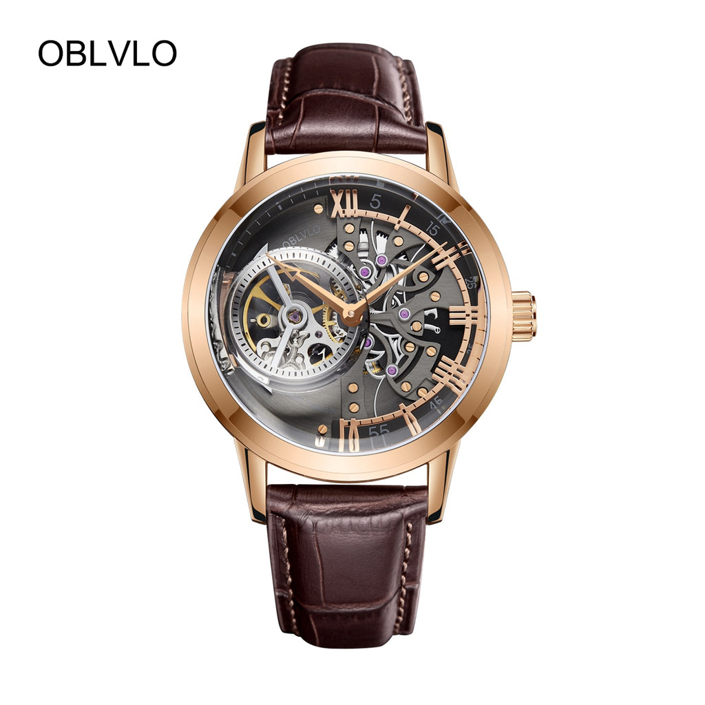 OBLVLO Luxury Casual Watches for Men Rose Gold Skeleton Watches VM 1