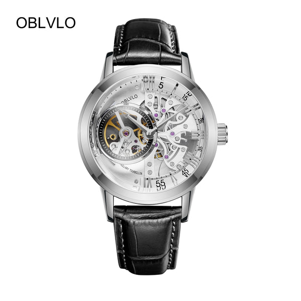 OBLVLO Casual Mens Steel Leather Strap Skeleton Watches VM 1