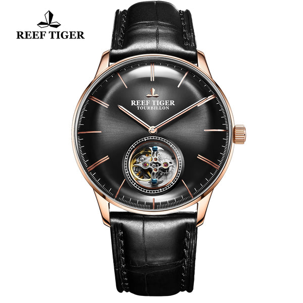 Reef Tiger Seattle Tourbillon Fashion Men Rose Gold Leather Strap Automatic Watches RGA1930