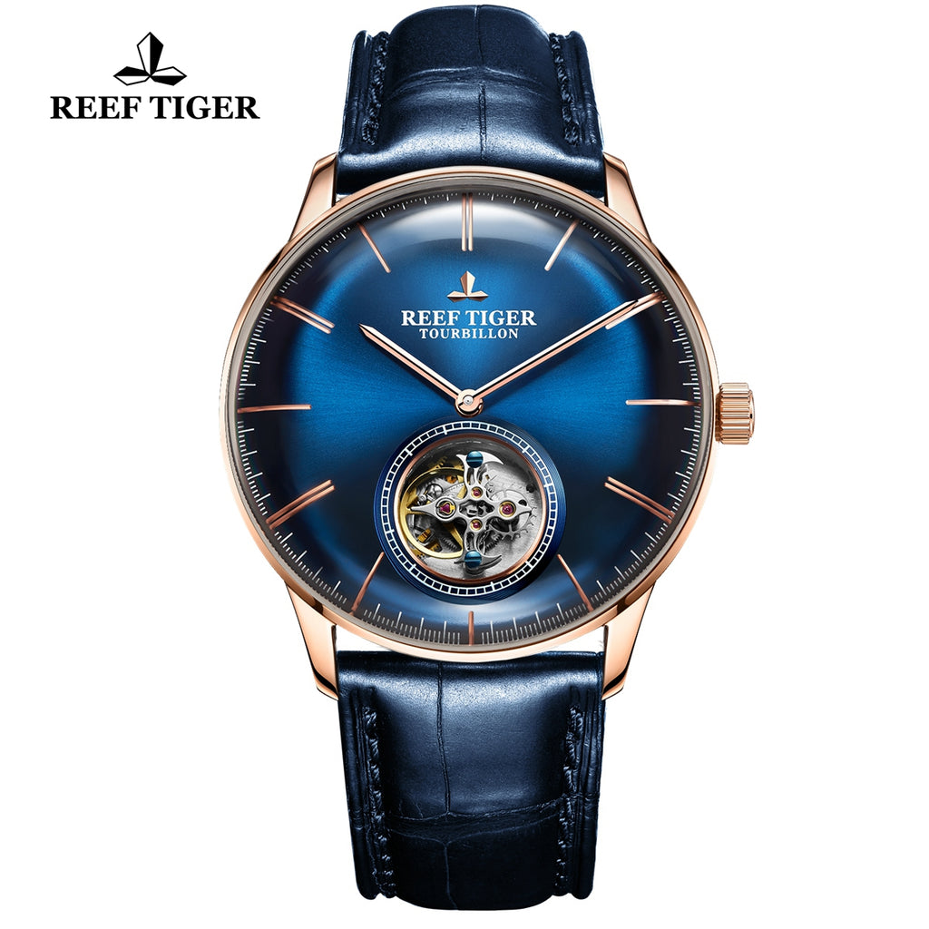 Reef Tiger Seattle Tourbillon Men Rose Gold Blue Leather Strap Automatic Watches RGA1930-PLL