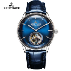 Reef Tiger Seattle Tourbillon Men Steel Blue Leather Strap Automatic Watches RGA1930-YLL
