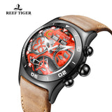 Reef Tiger Mens Sport Year Month Black Steel Red Skeleton Dial Watch with Date Day RGA703