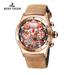 Reef Tiger Mens Sport Rose Gold Red Skeleton Dial Watch with Year Month RGA703