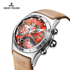 Reef Tiger Mens Sport Steel Red Skeleton Dial Watch with Date Day RGA703