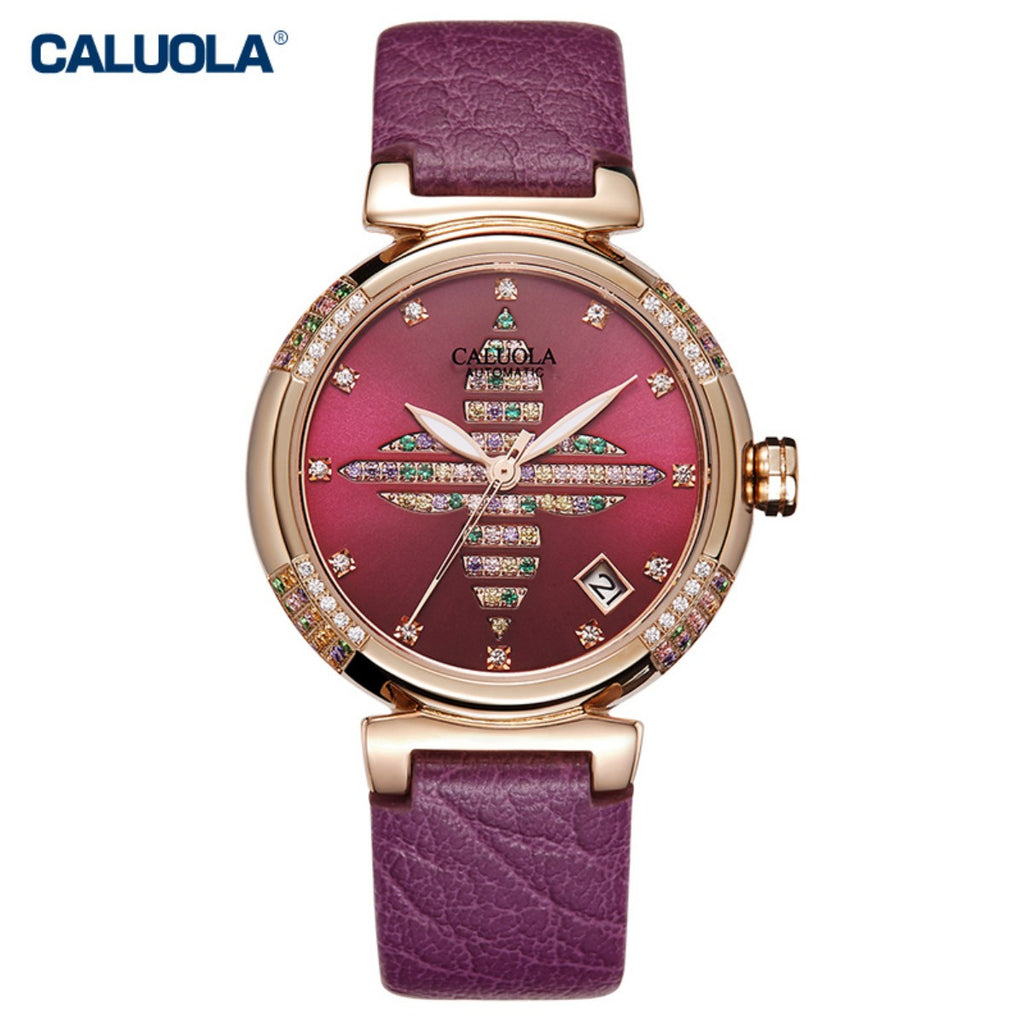 Caluola Women Watch Fashion Design Quartz Watch Diamond Casual CA1186ML