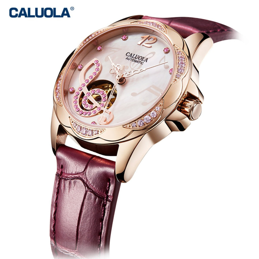 Caluola Women Watch Automatic Diamond Leather Strap Fashion Business Watch 1181