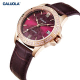 Caluola Women Watch Automatic Watch Date Leather Fashion Diamond Watch  1180
