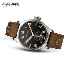 Agelocer Men's Luxury Authentic Pilot Watches Black Dial Leather Strap Watch 3101A1