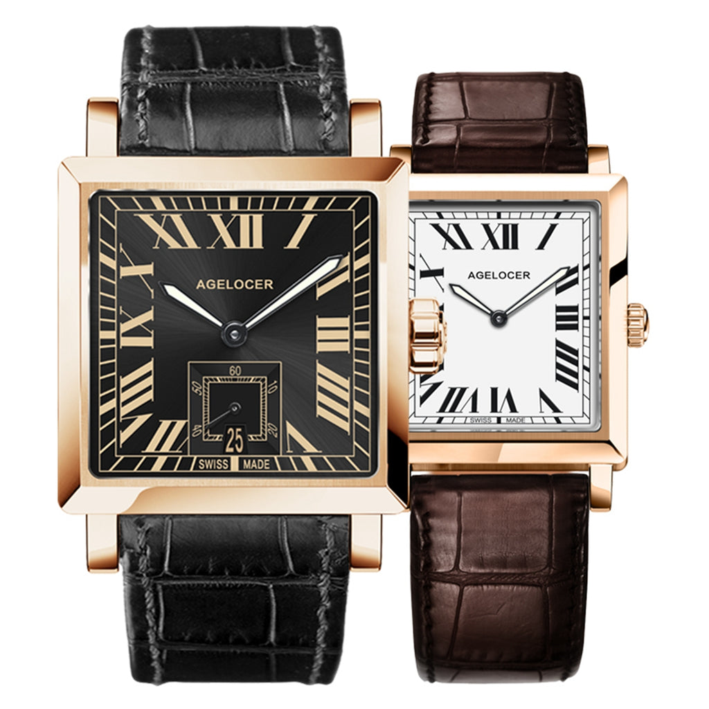 Agelocer Square Couple Watches Waterproof Analog Automatic for Men Women Watches 3302A1-3402A1