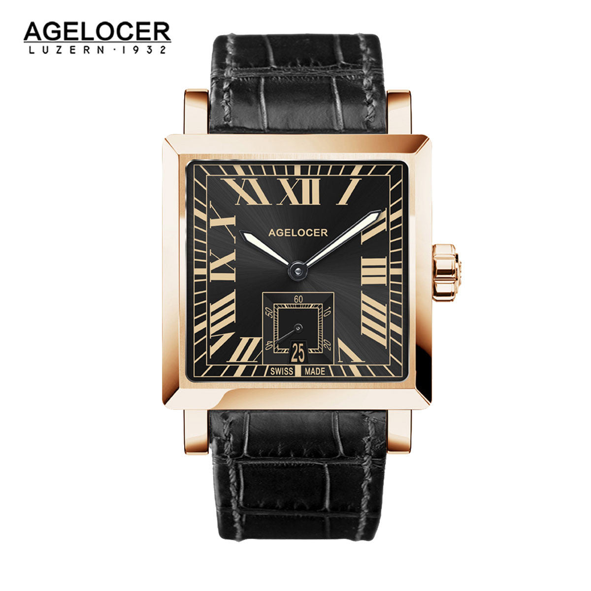 Agelocer Luxury Square Wathes Men Rose Gold Case Dual Time Calendar Analog Watch 3303D1