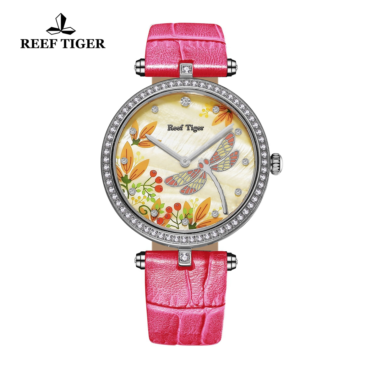 Reef Tiger Fashion Casual 316L Steel MOP Dial Diamonds Womens Watches RGA151