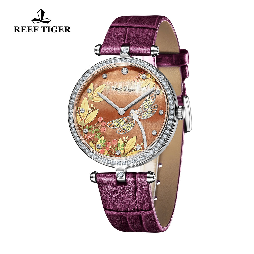 Reef Tiger Fashion Casual Steel Brown MOP Dial Diamonds Womens Watches RGA151