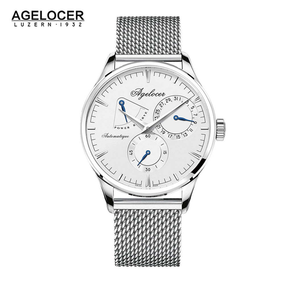 Agelocer Mens Business Steel White Dial Steel Bracelet Watch with Date Power Reserve 4101A9