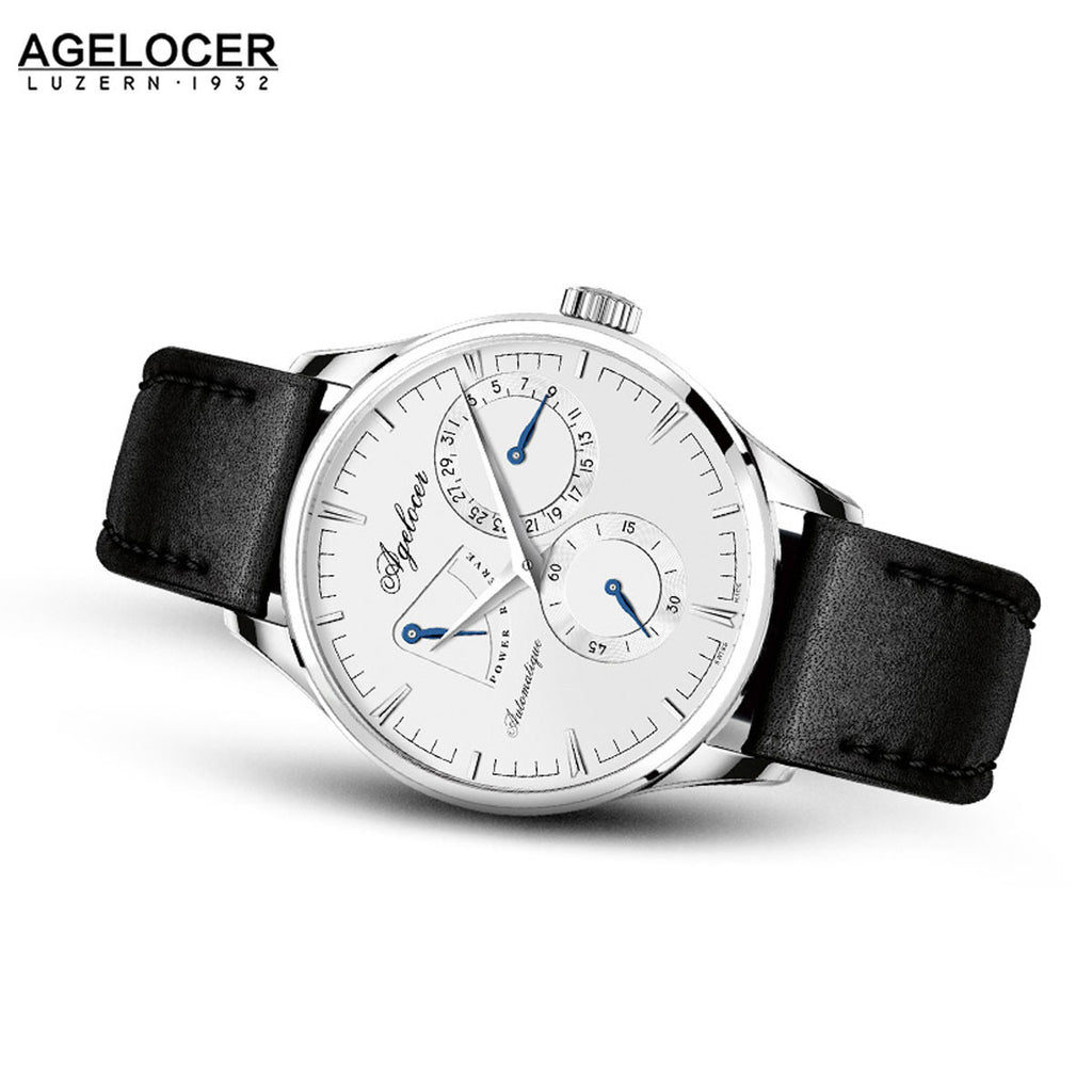 Agelocer Mens Business Steel White Dial Leather Strap Watch with Date Power Reserve 4101A1