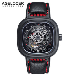 Agelocer Men's Casual Sport Watches Automatic Skeleton Watch with Genuine Leather Strap 5004J1