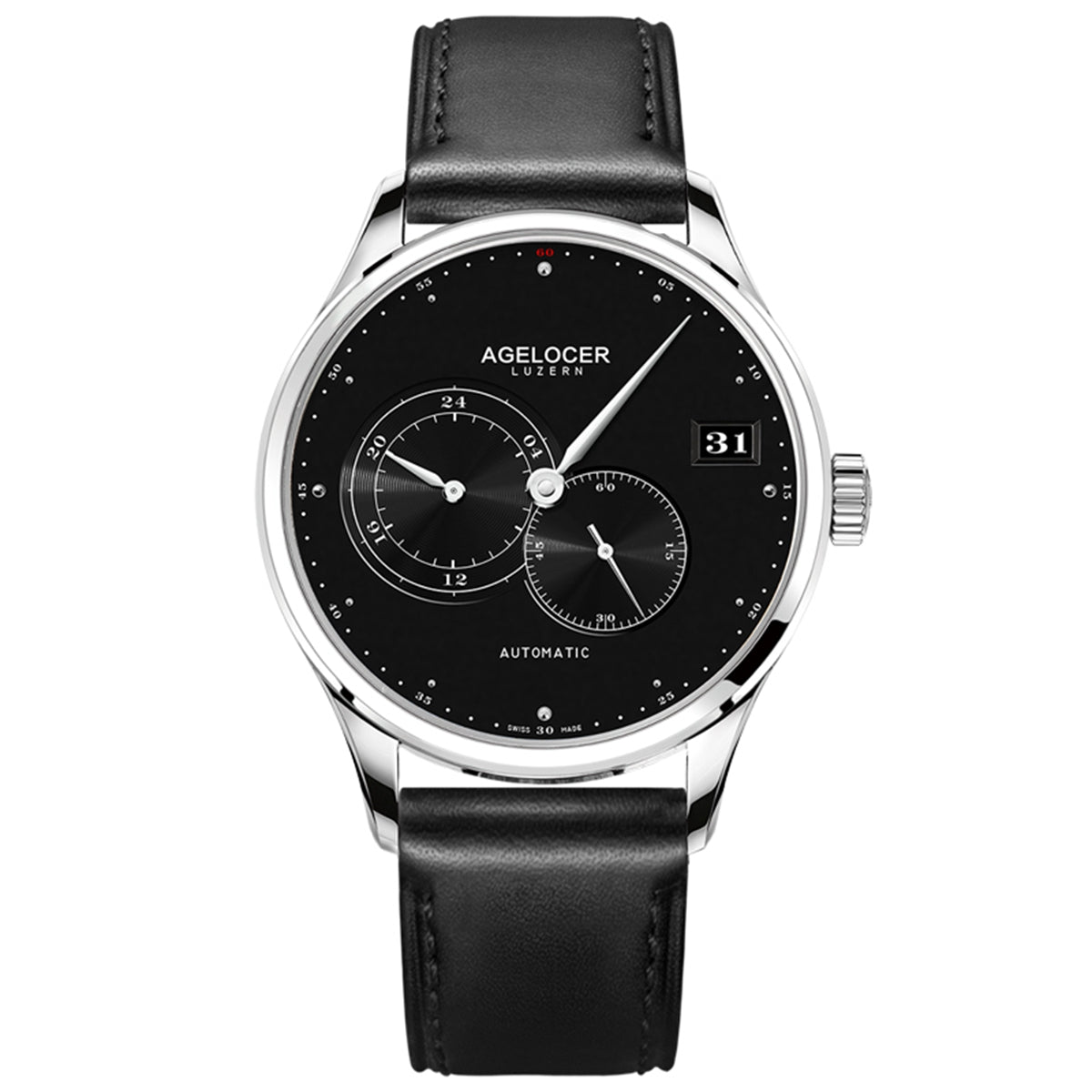 Agelocer Fashion Casual Black Dial for Men Genuine Leather Strap Automatic Watches 510L