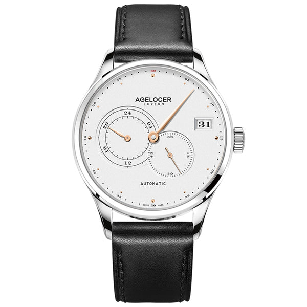 Agelocer Fashion Casual White Dial for Men Genuine Leather Strap Automatic Watches 510L