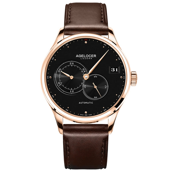 Agelocer Fashion Casual Watches for Men Big Date Genuine Leather Strap Automatic Watches 510L