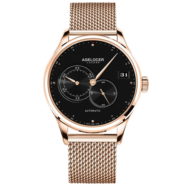 Agelocer Fashion Rose Gold Casual Watches for Men Big Date Three Hands Automatic Watches 510S