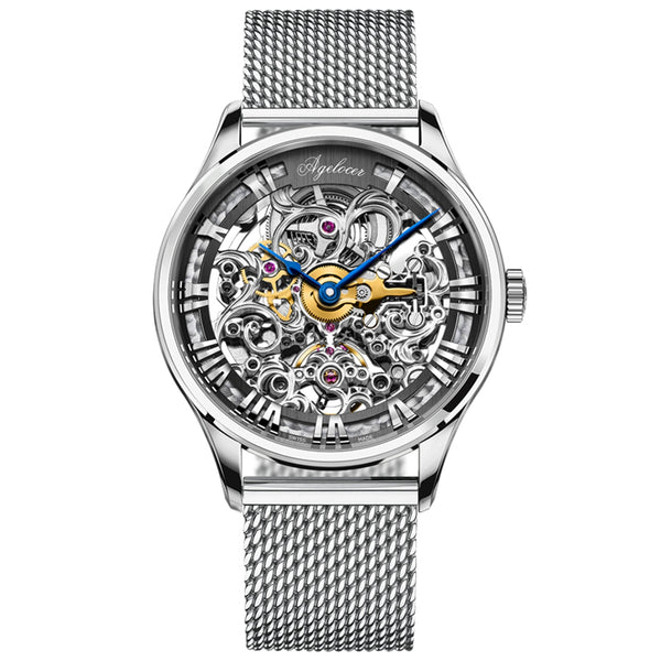 Agelocer Skeleton Automatic Watches for Men Steel Analog Watches 5401S