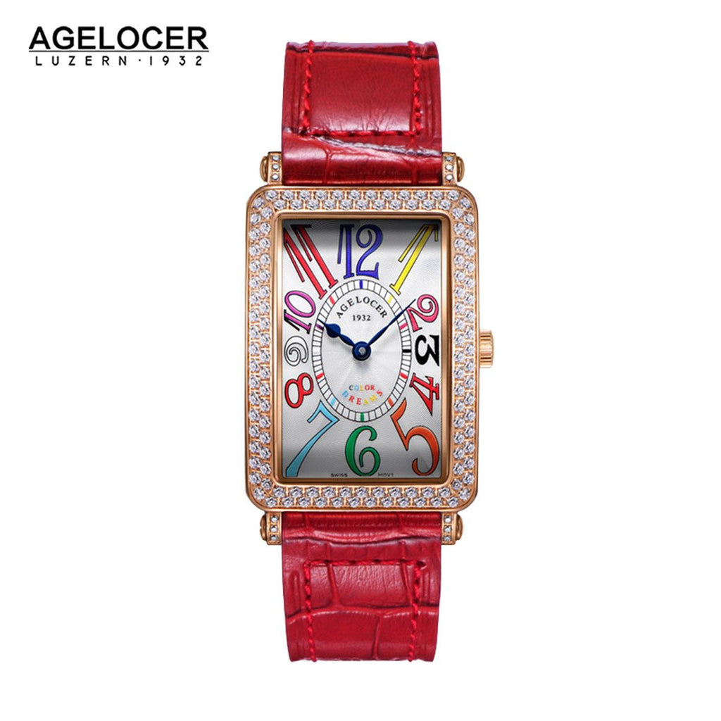 Agelocer Ladies Rose Gold Diamond Watches Automatic Movement 5502D