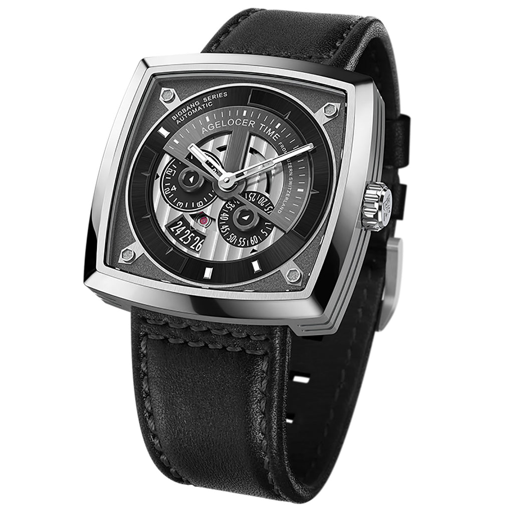 Agelocer Luxury Men Square Skeleton Fashion Automatic Watches Leather Strap 5601A1