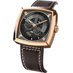 Agelocer Rose Gold Men Square Skeleton Fashion Automatic Watches Leather Strap 5603D2