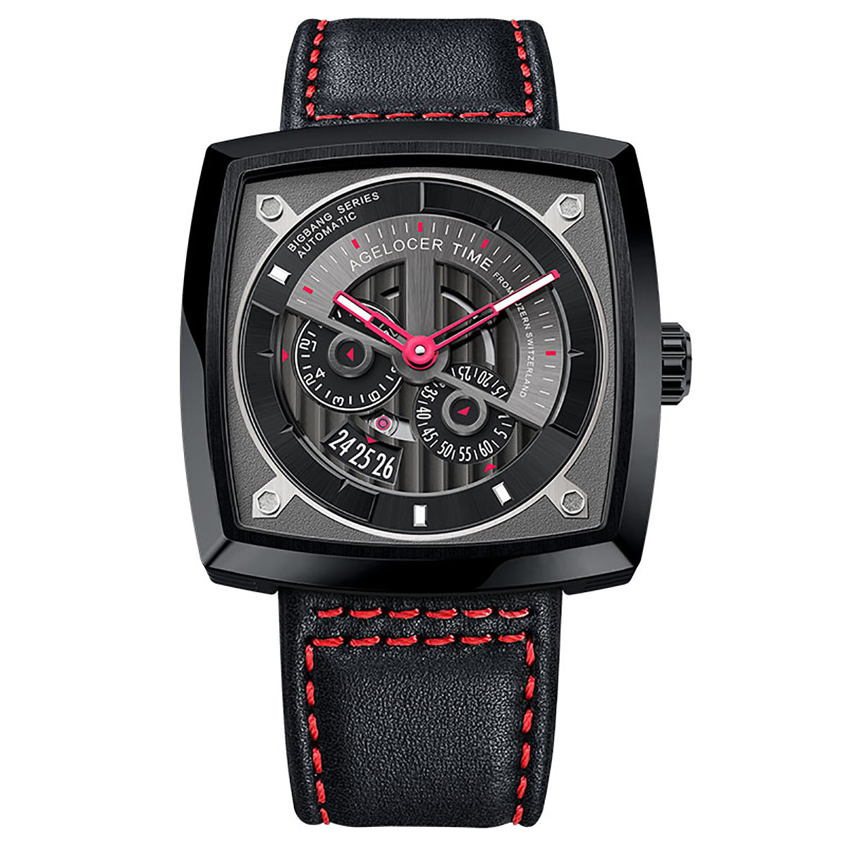 Agelocer Luxury Men Square Skeleton Fashion Automatic Watches Leather Strap 5604J4