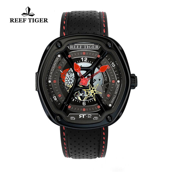Reef Tiger Men's Skeleton Dial Red Night Luminescent Black Leather Watch RGA90S7