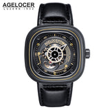 Agelocer Brand Diver Watch for Men Skeleton Dial Black Steel Automatic Watches 6003C1
