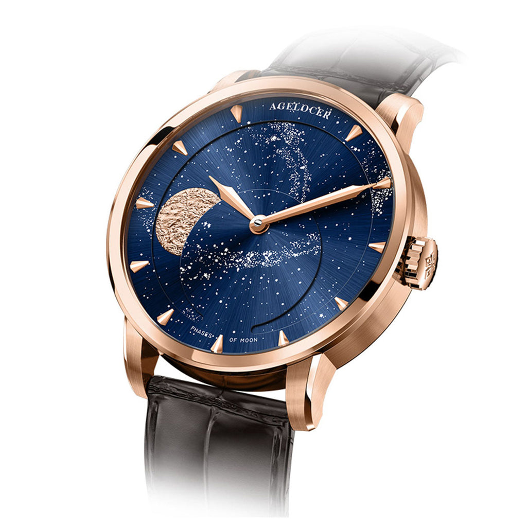 2019 New Agelocer Luxury Brand Business Watch for Men Blue Moon Phase Automatic Watch 6404D2