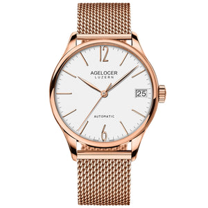 Agelocer Luxury Stainless Steel Watches for Men Rose Gold Automatic Watches with Date 707S