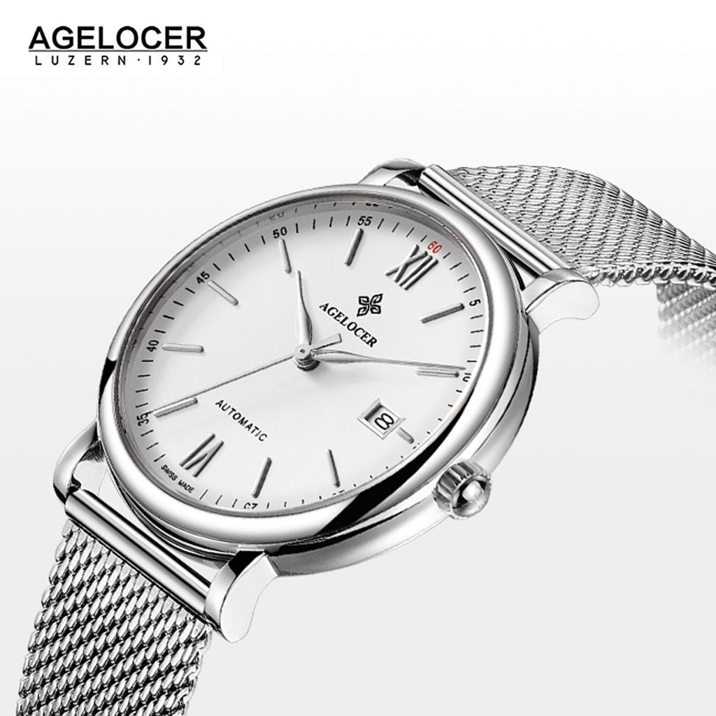 Agelocer Men's Luxury Fashion Watches White Dial Steel Bracelet Watch with Date 7061A9