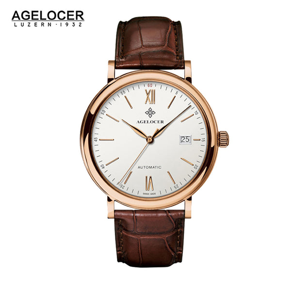 Agelocer Classic Charm Watches Rose Gold White Dial Leather Strap Watch with Date 7061D2