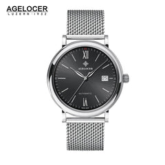 Agelocer Men's Luxury Fashion Watches Black Dial Steel Bracelet Watch with Date 7062A9