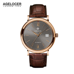 Agelocer Luxury Men's Watches Rose Gold Grey Dial Leather Strap Watch with Date 7063D2