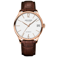 Agelocer Luxury Rose Gold Ultra Thin Mens Genuine Leather Strap Automatic Watches 707L