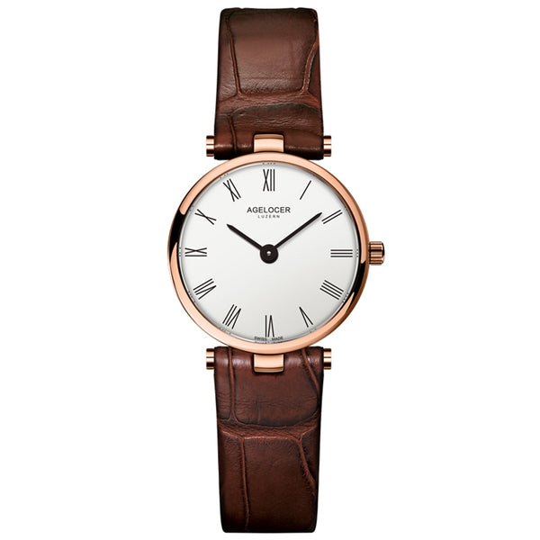 Agelocer Fashion Rose Gold Simple Womens Watches Waterproof Small Quartz Watches Leather Strap 708L