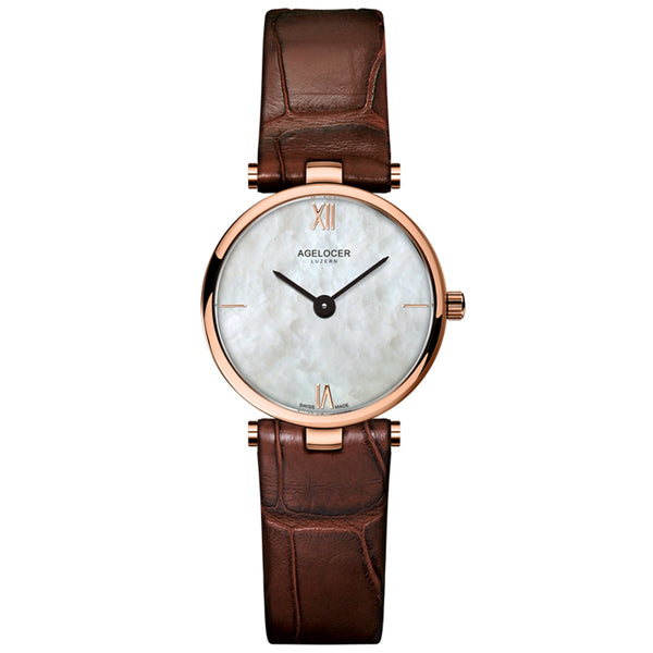 Agelocer Rose Gold Fashion Simple Womens Watches Waterproof Small Quartz Watches Leather Strap 708L