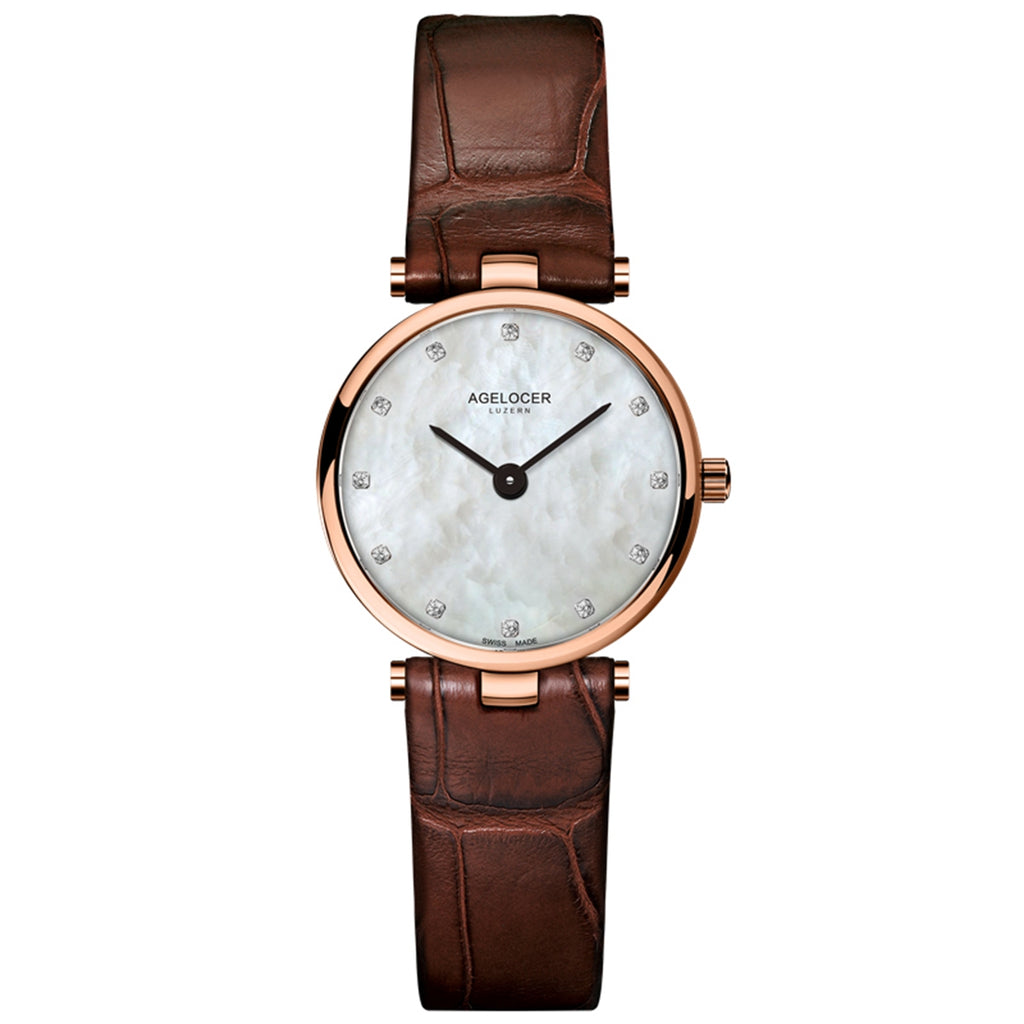 Agelocer Fashion Rose Gold Simple Womens Watches Waterproof Leather Strap Small Quartz Watches 708L