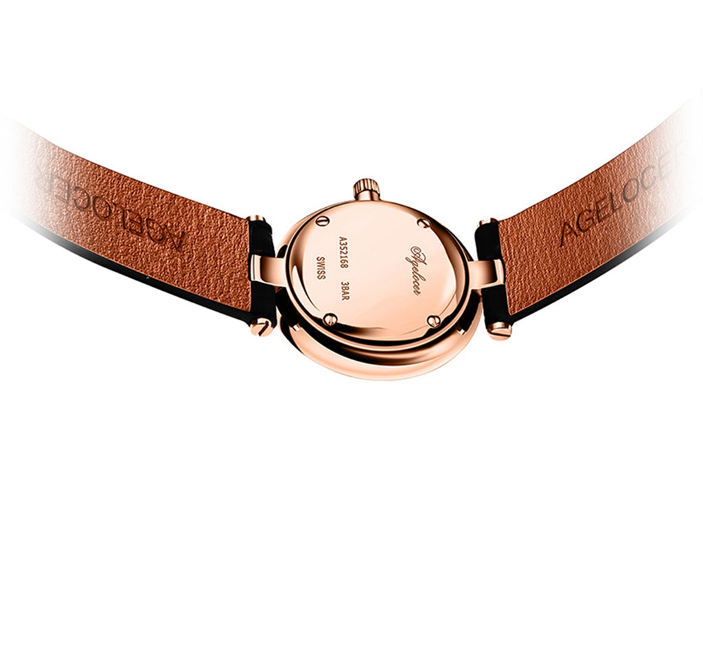 Agelocer Fashion Rose Gold Simple Womens Watches Small Quartz Waterproof Watches Leather Strap 708L