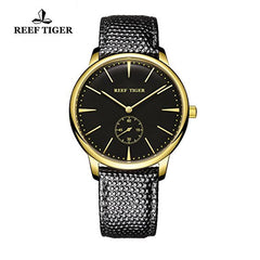 Reef Tiger Couple Watches Ultra Thin Yellow Gold Black Dial Leather Strap Mens Watch RGA820