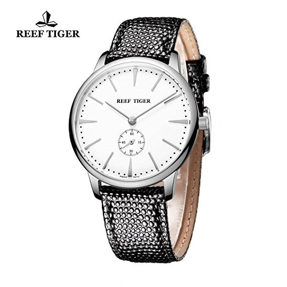 Reef Tiger Couple Watches Ultra Thin Steel White Dial Leather Strap Mens Watch RGA820