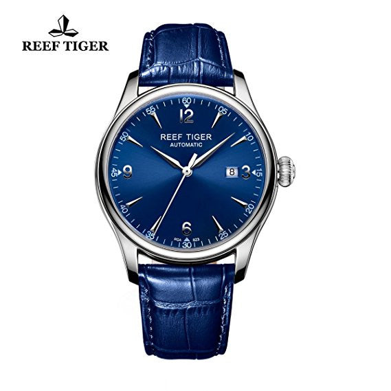 Reef Tiger Business Mens Steel Blue Dial Leather Strap Watch with Date RGA823