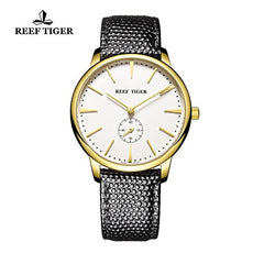 Reef Tiger Yellow Gold White Dial Leather Strap Mens Watch RGA820