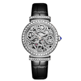 OBLVLO Ladies Designer Steel Diamond Skeleton Leather Automatic Watches BM-YLL
